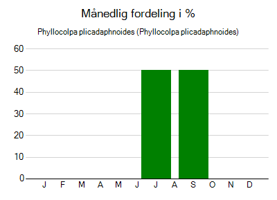 Phyllocolpa plicadaphnoides - månedlig fordeling